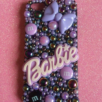Black & Lilac Barbie Decoden Case, Gothic, Kawaii, Cute Can be made for ANY phone. Iphone 5
