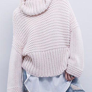 Light Pink Roll Neck Cable Knit Loose Sweater