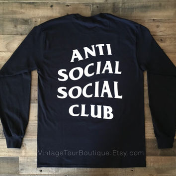 Anti Social Social Club Black Gildan Long Sleeve Tee ASSC Kanye West Shirt