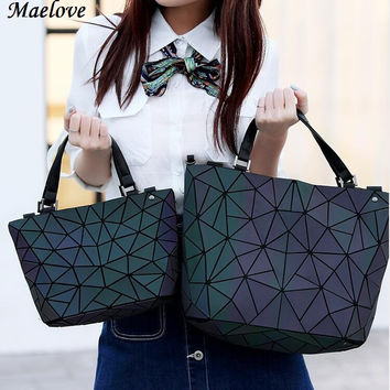 Maelove  Women BaoBao Bag Geometry Sequins Mirror  Plain Folding Bags Luminous Totes bao bao Hologram  Free Shipping
