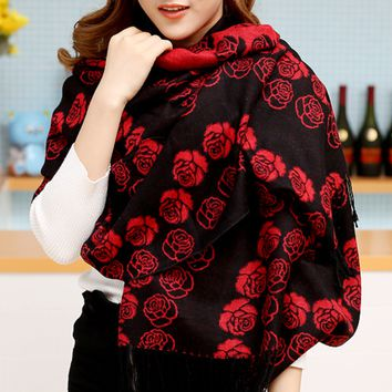 Fashion Women's Rose Flower Winter Warm Scarf