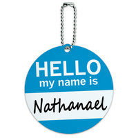 Nathanael Hello My Name Is Round ID Card Luggage Tag