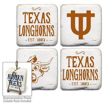 Legacy Athletic Texas Longhorns 4-Piece Vintage Tumbled Coaster Set (Orange)