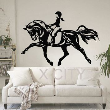Women Horse Sport WALL ART STICKER Equestrian VINYL DECAL DIE CUT WINDOW DOOR ROOM STENCIL MURAL HOME DECOR
