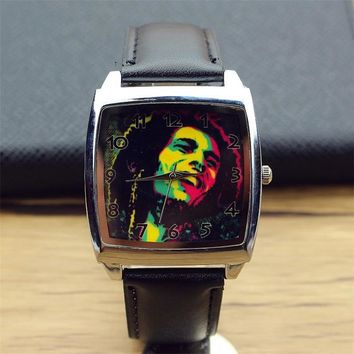 new arrived women and men Jamaica Bob Marley Fashion Steel Watch Wrist Black Leather Band student square quartz watch