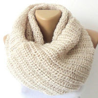 Infinity Scarf,ivory,Circle Scarf, SALE 25% off ,Neck Warmer. LONG scarf,vanilla Crochet Infinity,christmas gifts,SENO