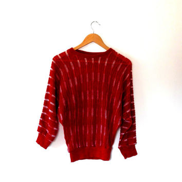 Tomato red and white sweater / ladder knit / sheer / fine knit / retro / vintage / 1970s / round collar / wing sleeve / medium / knitted top