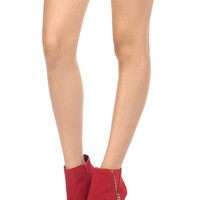 Red Faux Suede Unzipped Zipper Accent Platform Ankle Booties