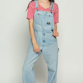 OshKosh Overalls 90s Denim Osh Kosh Jeans Grunge Pants Baggy Long Jean 80s Faded Blue Distressed Suspender Hipster Vintage Medium