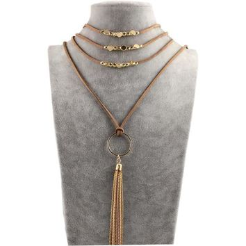New Arrival Stylish Gift Jewelry Shiny Hot Sale Korean Chain Tassels Pendant Necklace [30852022292]