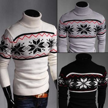 Mens Turtleneck Christmas Snowflake Sweater