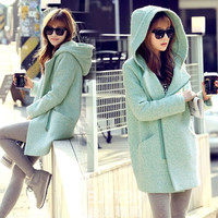 New Thick School Side Zipper Hooded Wool Coat