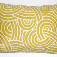 Pillow.Citrine Mustard Yellow.12x16 or 12x18 inch Decorator Lumbar Pillow Cover.Free Shipping.Printed Fabric Front and Back