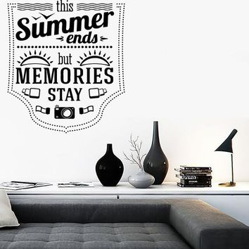 Wall Stickers Vinyl Decal Summer Ends Memories Stays Inspire Message Unique Gift z2052