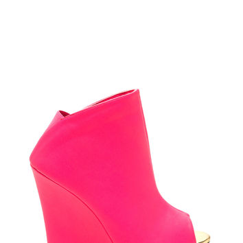 City Strut Faux Leather Wedge Booties