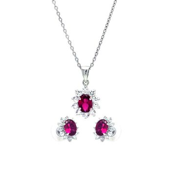 .925 Sterling Silver Rhodium Plated Red &  Clear Cluster Flower Cubic Zirconia Stud Earring &  Dangling Necklace Set