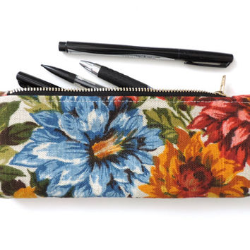 Floral Pencil Case Zipper Pencil Pouch Linen Flowers