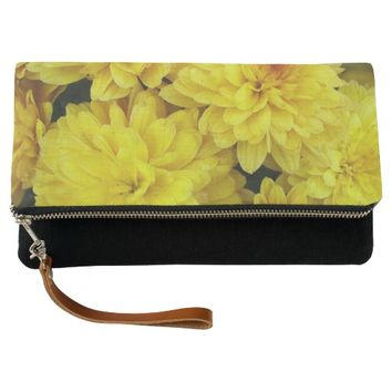 Yellow Mums Floral Clutch