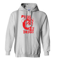 Pugs Not Drugs Red Hoodie for Mens Hoodie and Womens Hoodie