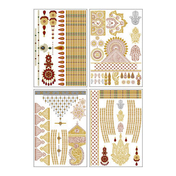 Indian Princess Metallic Temporary Tattoo Pack (Set of 4 Sheets)