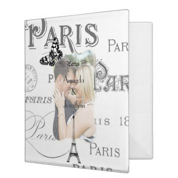 Vintage Paris Themed Wedding Party Personalized Binder
