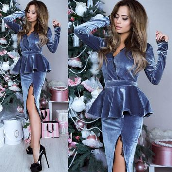 Lace Velvet Women's Dresses Winter Long Sleeve V-neck Elegant Velour Dress Female Party Spit Midi Skinny Vestido Plus Size GV193
