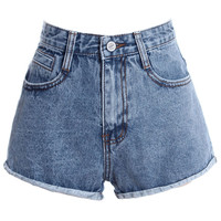 ROMWE Washed Pocketed Rolled Blue Shorts