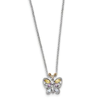 Sterling Silver & 14K Gold Citrine, Amethyst, Blue Topaz & Diamond Butterfly Necklace