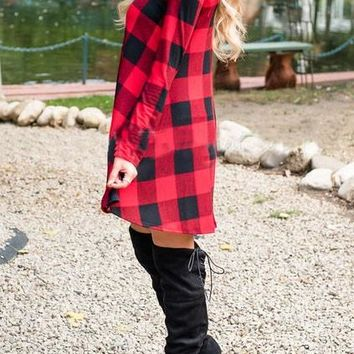 New Women Red Plaid Print Irregular Round Neck Long Sleeve Party Flannel Mini Dress