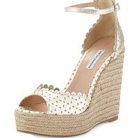 Tabitha Simmons Harp Scalloped Leather Wedge, Champagne