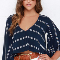 True North Ivory and Navy Blue Striped Crop Top