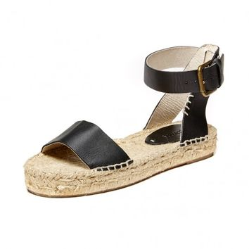 Soludos Grey Leather Open Toe Platform Sandal - Soludos Espadrilles
