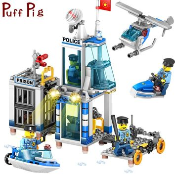 312PCS 4in1 Police Station Prison Figures Classic Bricks Compatible Legoed City Coast Guard Enlighten Building Blocks Kids Toys