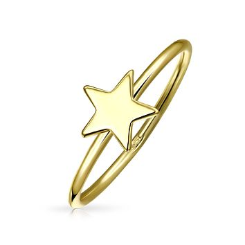Midi Knuckle Patriotic Star Ring 14K Gold Plated 925 Sterling Silver