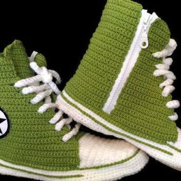 DCKL9 Converse Slippers for Women and Male, Converse Shoes Booties, Crochet House Shoes, Con