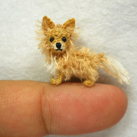 Long Hair Chihuahua Dog - Amigurumi Crochet Tiny Dog Stuff Animal - Made to Order