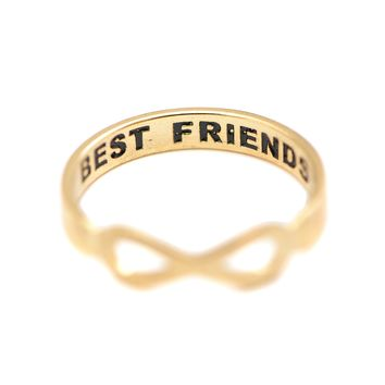 Handcrafted Best Friend Lettered Infinity Ring