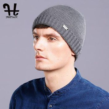LMFUX5 FURTALK 100% Wool Knitted Cashmere Men Winter Hat Knit Skullies Beanies Hats Male HTWL093