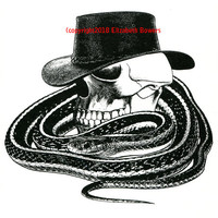 Cowboy Skull Snake Western original art print ink skeleton cow boy black and white illustration