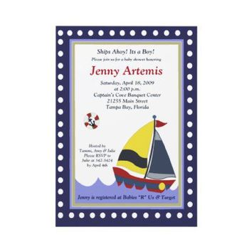Sailing Sailboat Boat Nautical Baby Shower 5x7 Custom Invite from Zazzle.com