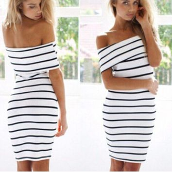 White Stripe Off-Shoulder Dress