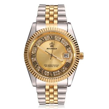 Original New 2018 REGINALD Quartz Watch Men 18k Yellow Gold Fluted Bezel Pearl Diamond Dial Full Stainless Steel Luminous Clock