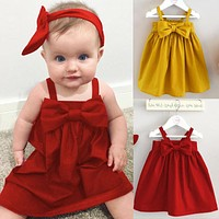 Baby Girls Dresses clothes Kid Summer Sleeveless Sundress Bowknot Short Mini Vest Red Yellow Dress Outfit