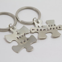 I Love You to the Moon and Back  Couple's Hand Stamped Silver Puzzle Piece Keychain, Engagement Gift, Boyfriend Gift, Husband Gift