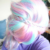 PASTEL RAINBOW Single Clip Hair Extensions 18 in. Set of 1 | Fairy, Fantasy, Unicorn, Baby Pink, Pastel, Lilac, Tumblr