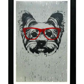 """Yorkshire Terrier with Red Glasses Art Print / Poster - 13x19"""""""