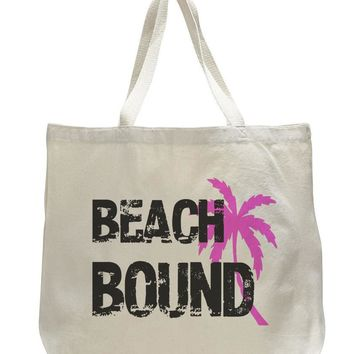 Beach Bound Tote Bag - Trendy Natural Canvas Bag - Funny and Unique - Tote Bag