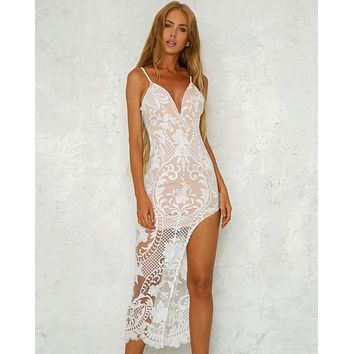 night under the stars lace-overlay dress - more colors