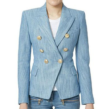 VONG2W 2017 New Fashion Spring Autumn Blazer Button Double Breasted Suit Jacket Golden Metal Lion Suit Blue Office Blazer Women Outwear