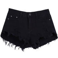 Sheinside Women's Black Buttons Ripped Fringe Denim Shorts